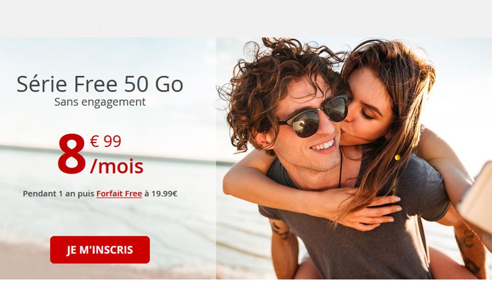 Free Mobile : - 55% sur le forfait mobile 50 Go