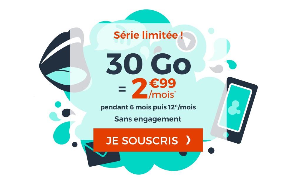 Forfait Mobile : l'Immanquable 30 Go à 2€99