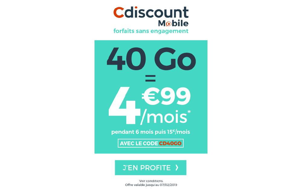 bon plan forfait mobile le forfait 40go de cdiscount mobile 4 99 par mois le parisien